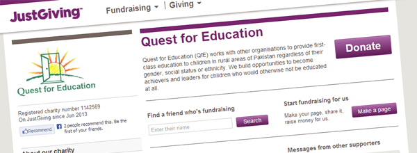 QfE has joined with JustGiving